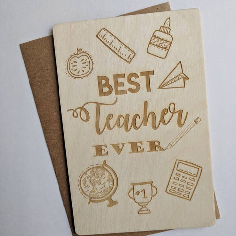 Best Teacher Ever Wooden Card