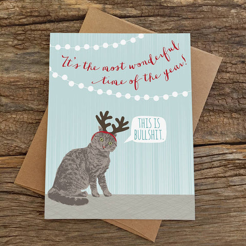 This is Bullshit Cat Holiday Card
