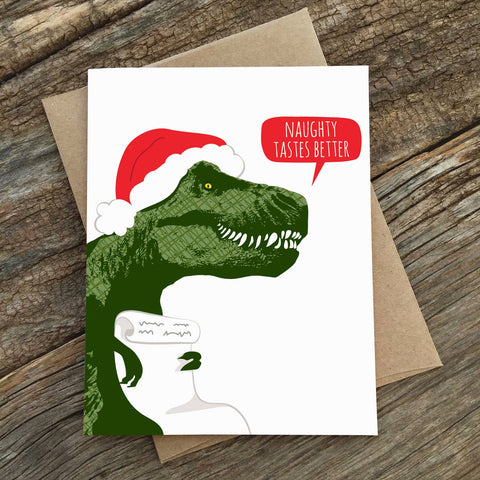 Naughty Tastes Better Trex Holiday Card