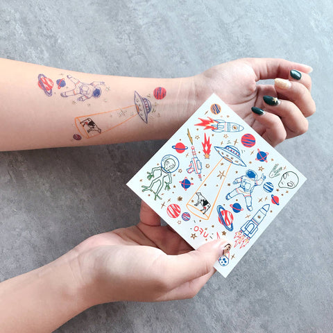 Space UFO Temporary Tattoos