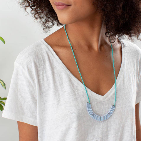 Light Blue and Turquoise Lapa Necklace