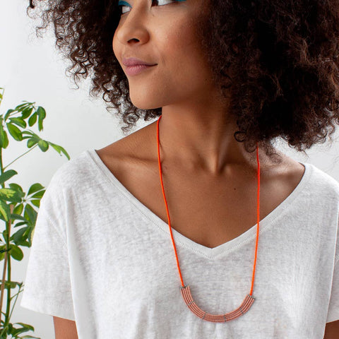 Pink and Orange Lapa Necklace