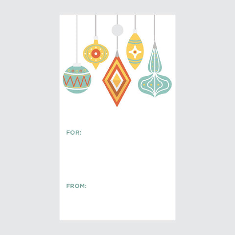Christmas Ornaments Gift Tags (Double-Sided, 10 with Twine)