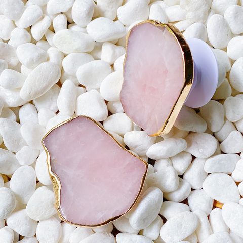 Pink Crystal Natural Stone Phone Grip