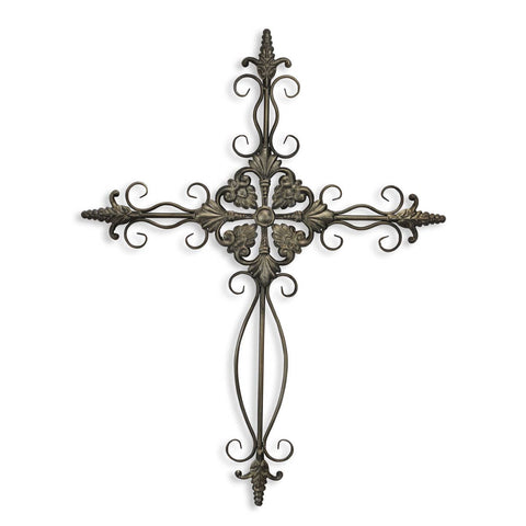 Swirl Metal Cross Wall Decor