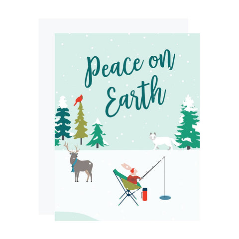 Peace on Earthy Ice Fishing Holiday Cards - Box of 6