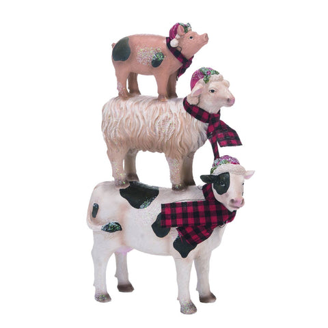 Resin 10 in. Multicolor Christmas Stacked Farm Animals