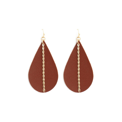 Teardrop with Chain Earrings - Brown