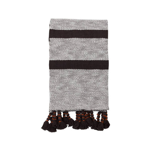 Handwoven Dixie Stripe Black Throw