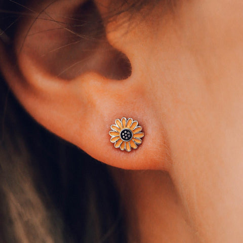 Pura Vida Bracelets - Enamel Sunflower Stud Earrings