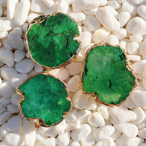Green Druzy Natural Stone Phone Grip