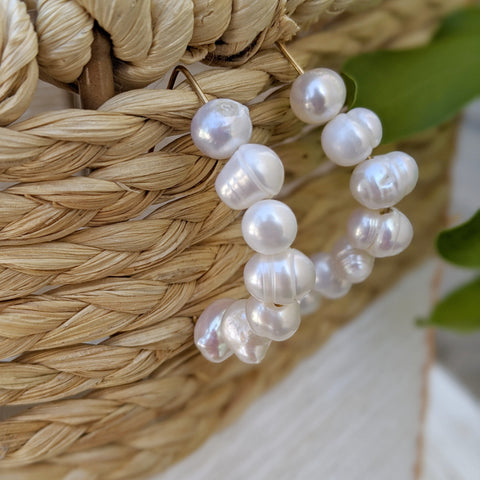 Boho Trendy Pearl Hoop Earrings