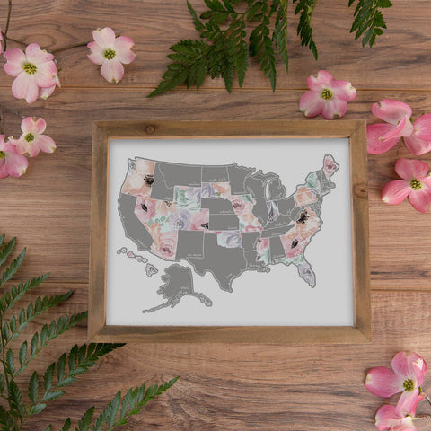 "Desk Size Romantic USA Scratch Your Travel Map 11""x8.5"""