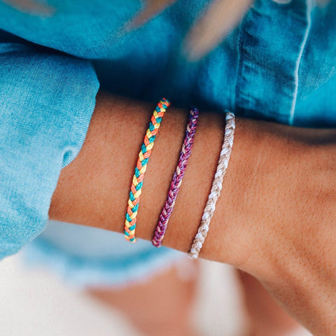 Pura Vida Bracelets - Multi Mini Braided: Leche