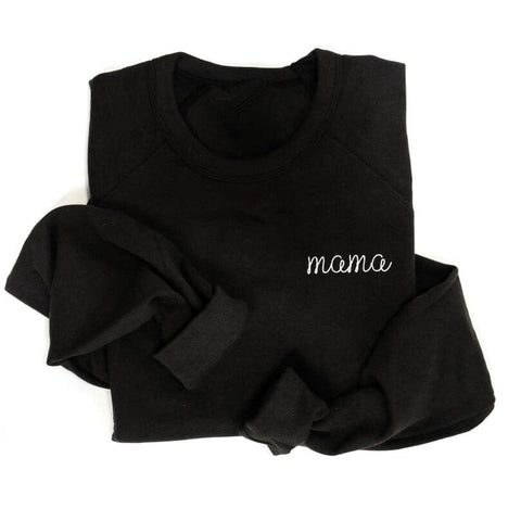 Black Embroidered Mama Crewneck