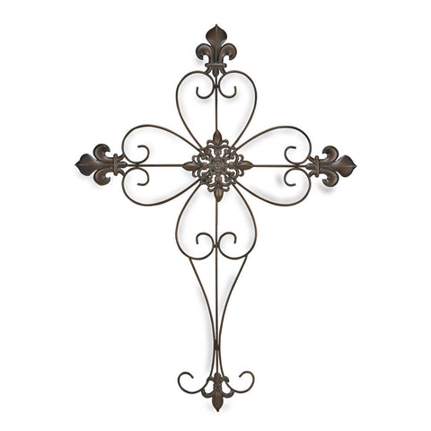 Fleur de Lis Metal Cross Wall Decor