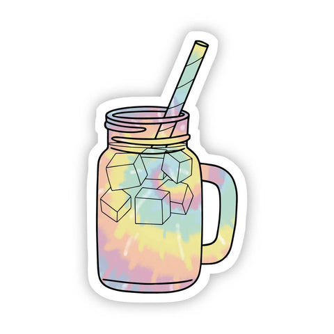 Tie Dye Iced Coffee Aesthetic Sticker
