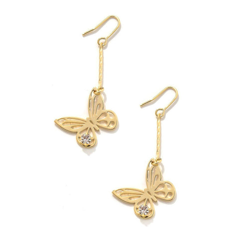 Butterfly Charm Dangle Hook Earrings - Gold
