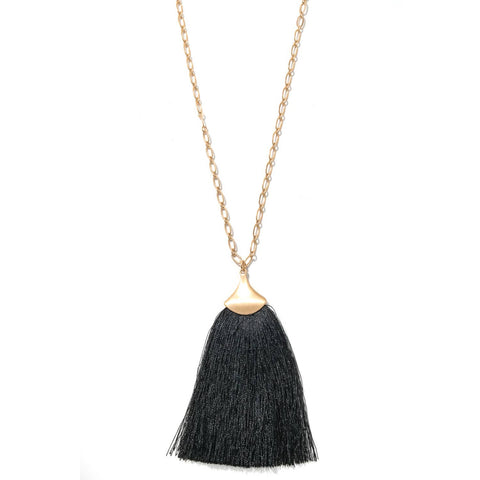Wide Tassel Pendant Necklace - Black