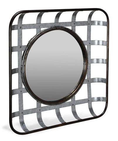 Galvanized Woven Metal Basket Mirror Wall Decor