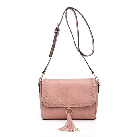 Whipstitch Flapover Crossbody with Tassel - Salmon