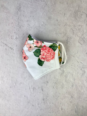 Floral Mask - Adult White Garden
