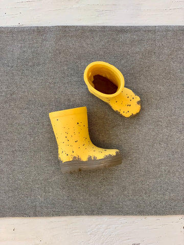 Yellow Rain Boots Shelf Decor