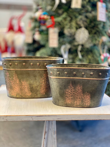 Metal Tree Engraved Planter/Bucket