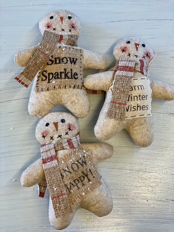 Plush Snowman with Holiday Message Doorknob Hanger/Ornament