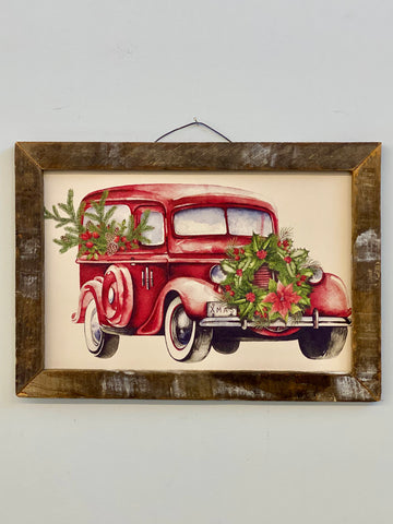 Holiday Red Truck Hanging Sign Decor