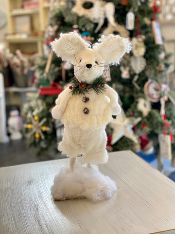 White Standing Fuzzy Snow Mouse