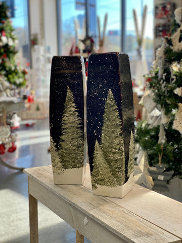 Large Pillar Candle Holders with Flocked Trees