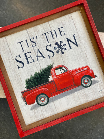Tis' The Season Hanging Wood Sign
