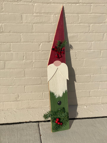 Hanging Red and Green Wood Gnome Sign