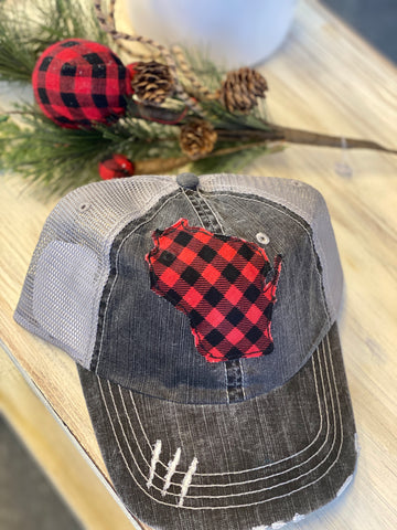 WI Buffalo Plaid Trucker Hat