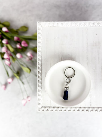Navy Lined Circle Charm Diffuser Keychain