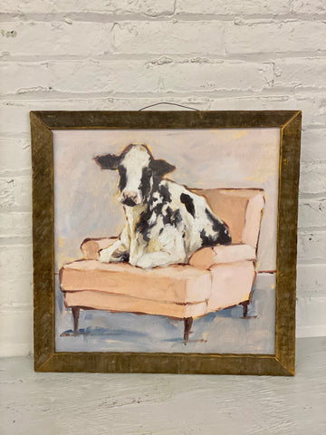 Jan Michaels' Cow on Chair Sign