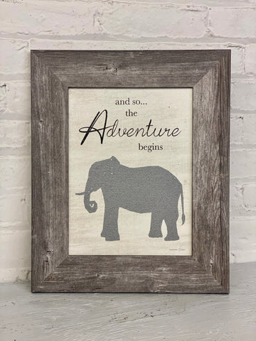 And So The Adventure Begins Glitter Elephant Sign