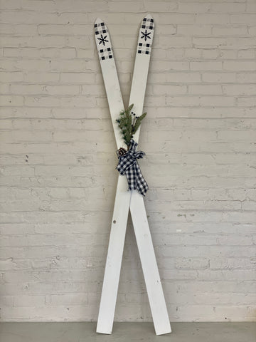 Large White Wooden Ski