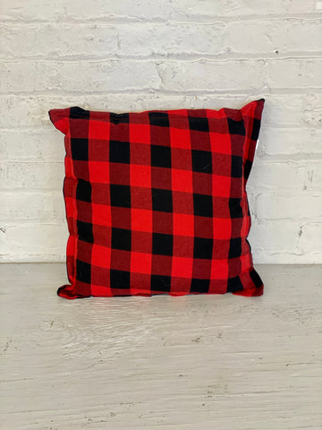 Red and Black Checkered Pillow