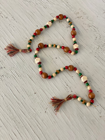 Red and Green Wooden Beaded Decor