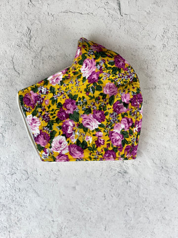 Floral Mask - Adult Yellow/Purple