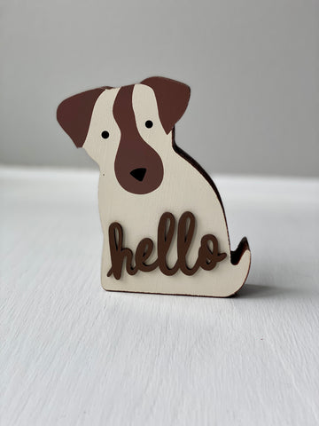 Hello Dog Shelf Decor