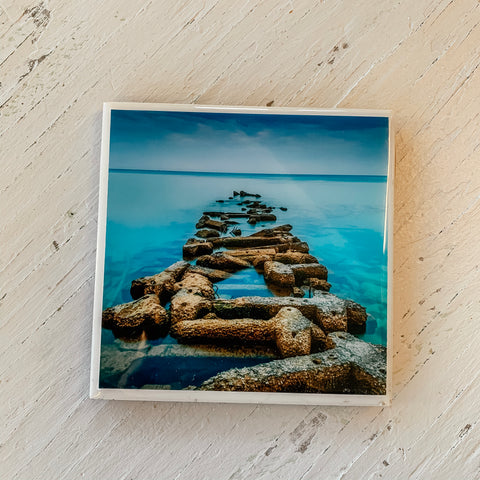 Stone Pier on a Blue Day Coaster