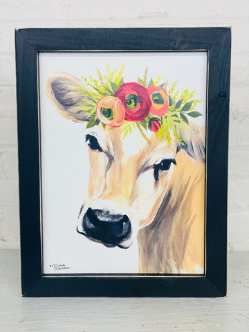 Cow with Flower Crown Hanging Picture