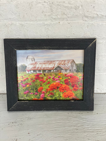 Farm and Flowers Wood Frame Sign