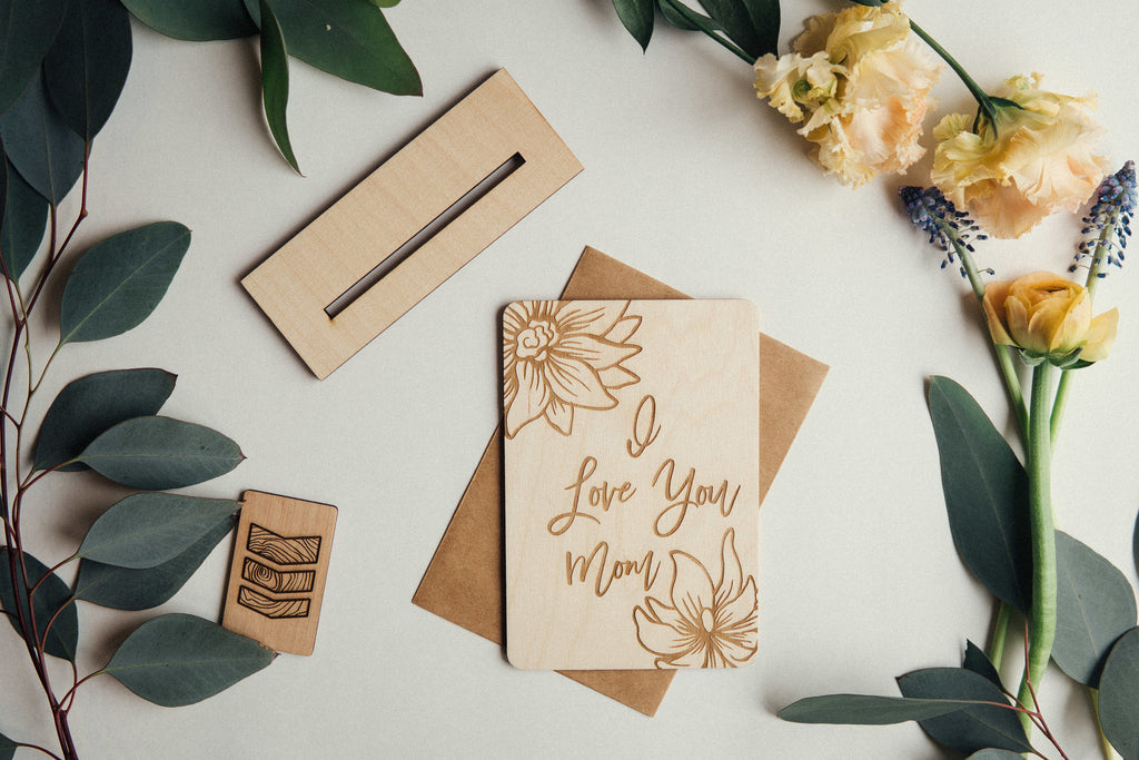I Love You Mom Wooden Card