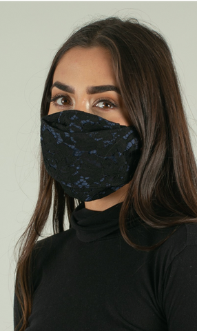 Black/Navy Midnight Lace Bun Mask (Adult)