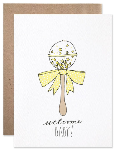 Welcome Baby Rattle Card Card