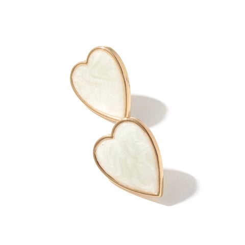 Swirly Heart Earrings - Ivory